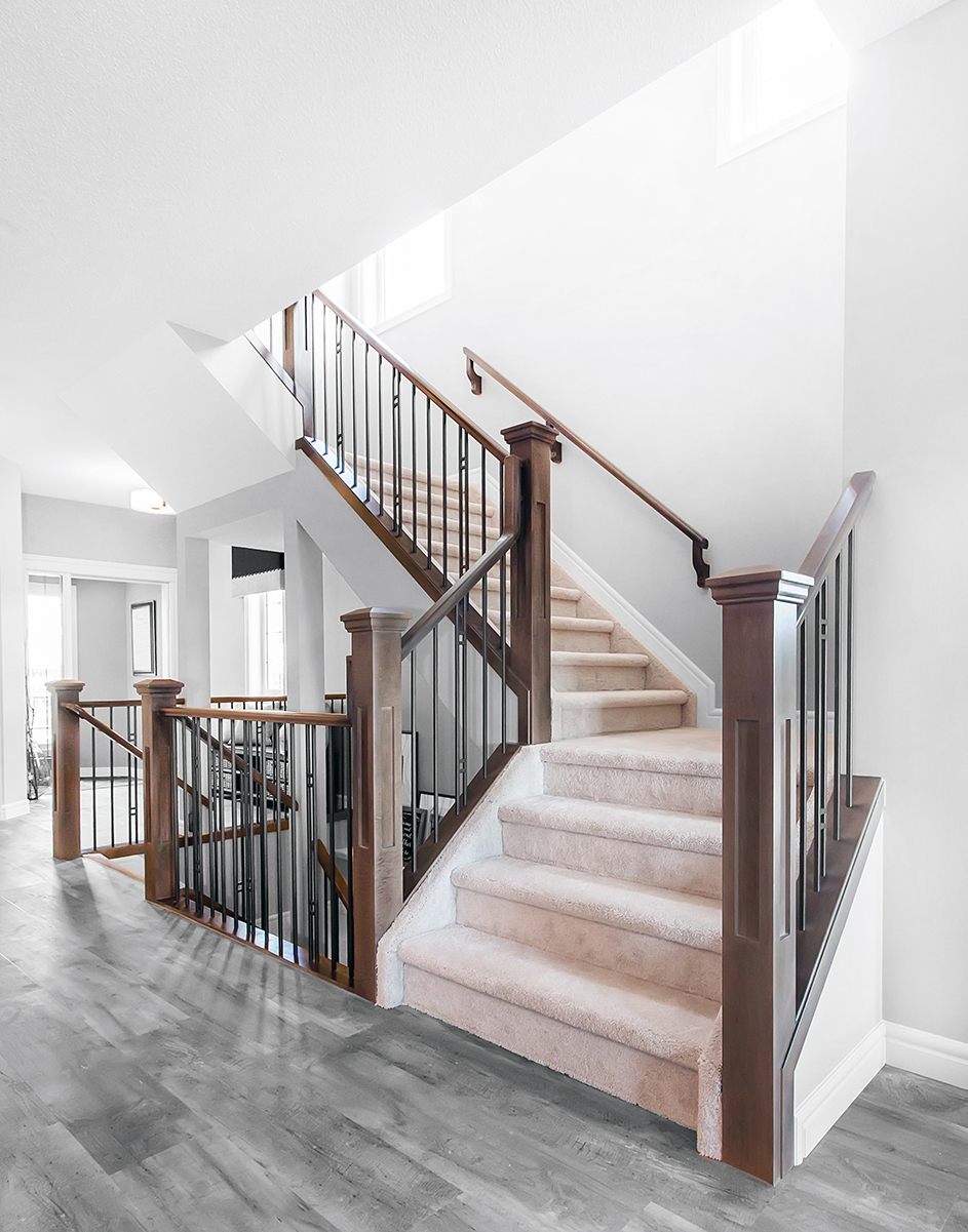 Stair and railing in edmonton alberta railing balustrade for Stainless steel railings interior